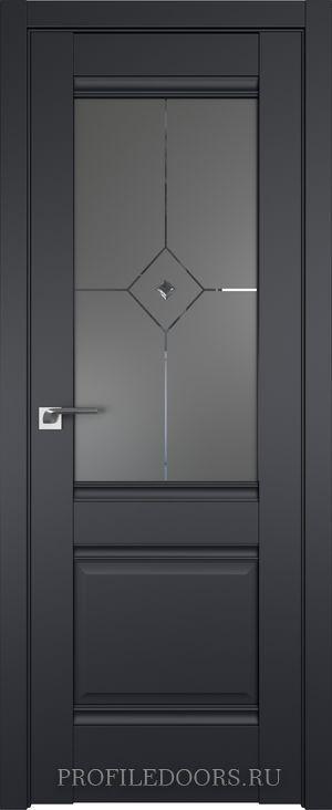 2U Черный матовый Узор графит с прозрачным фьюзингом(ромб)